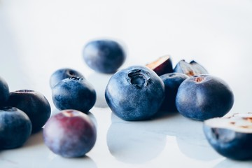 Close up of fresh organic blueberries on a marble background