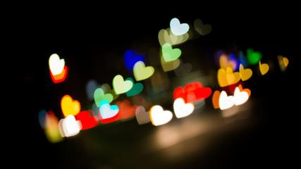 Defocused of illuminated heart shape lights