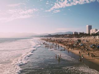 People enjoying on the Santa Monica beach