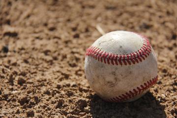 Close up of baseball ball on pitch