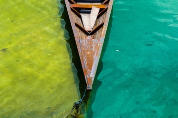 Close up of kayak moored in water