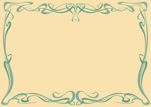 Art nouveau abstract framework from the bound lines. Vector isolate element.