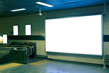 Fototapeta Billboard Banner signage mock up display in subway with stairs obraz
