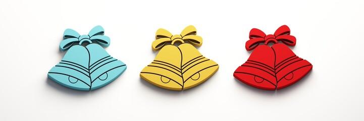 Blue Yellow Red Christmas Bells. 3D Render Illustration