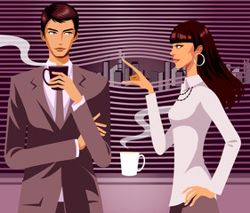 Businessman looking at woman with a cup of Coffee in his hand