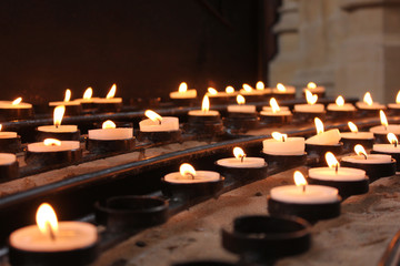 Rows of candles in Bath Abbey
