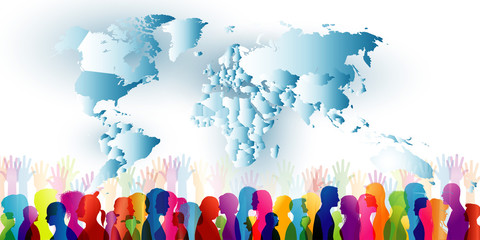 Group of different people. Crowd of ethnic people standing together. Diversity of people. Community. Colored silhouette profiles with world map