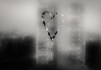 Heart painted on misted glass. 7