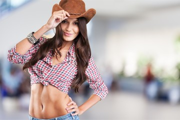 Young sexy Woman wearing cowboy hat