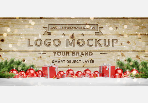 Engraved Wall Mockup with Holiday Decorations