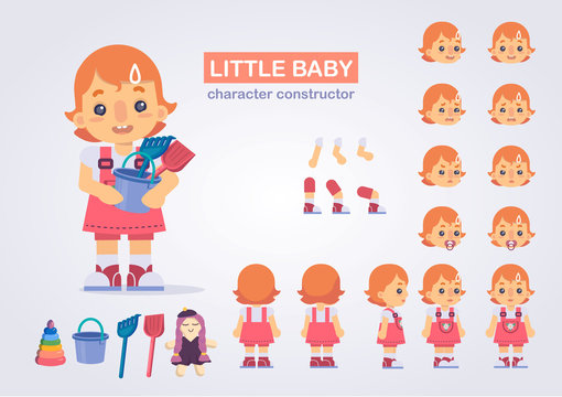 Happy little kid girl character with various views, face emotions, poses . Baby with toys: doll, bucket, shovel, rake, pyramid.  Front, side, back view animated character.Vector clip art