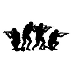Police tactical unit, SWAT team, special security group officers in uniforms and helmets, aiming and shooting with assault rifles ans service shotguns vector silhouette isolated on white background