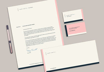 Stationery Set with Pink and Dark Blue Elements
