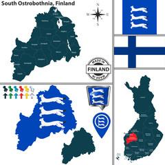 Map of South Ostrobothnia, Finland