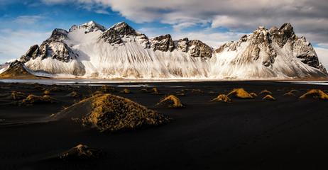Snowy Vestrahorn Panorama, Black Sand in Iceland