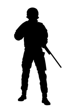 Police tactical unit rifleman, SWAT team sniper, counter-terrorist squad fighter in uniforms and helmet, standing with service rifle in hands, black vector silhouette isolated on white background