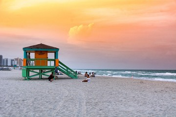Lifeguard tower on Miami Beach during sunset