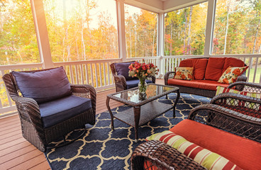 Beautiful screened in porch during fall