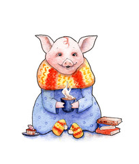 watercolor illustration: pig with a cup, books and cakes