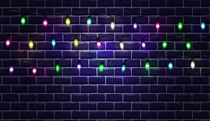 Christmas background with a glowing garland. Bright New Year's light bulbs. Vector brick wall. Seamless pattern and background for your design. Grand texture.