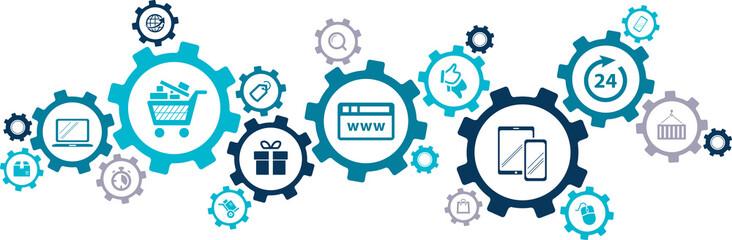 e-commerce / e-business / online business concept – vector illustration