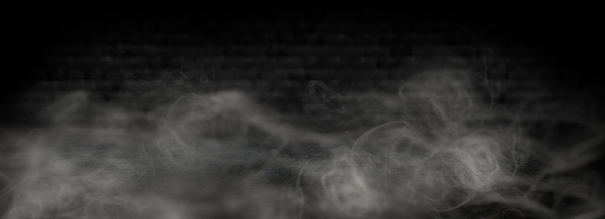 background of empty room at night, concrete floors and walls, neon light, fog, smoke, smog, sparks