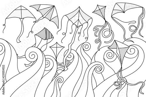Set Of Various Flying Kites With Doodle Waves Makar Sankranti