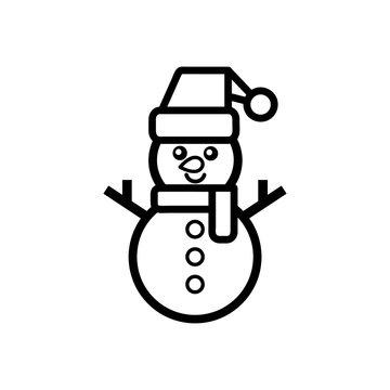 christmas snowman vector outline