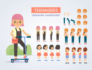 Happy teenager girl  character with various views