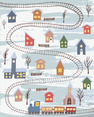 Cute winter village with colorful houses and rail road with train. Hand drawn winter countryside for cards, posters and other designs
