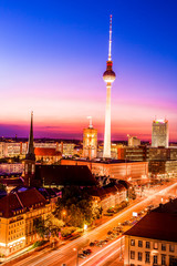 Aerial view of Berlin city skyline colorful at sunset ,Germany