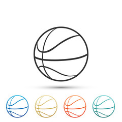 Basketball ball icon isolated on white background. Sport symbol. Set elements in colored icons. Flat design. Vector Illustration