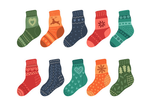 Warm knitted socks on white background. Vector illustration.