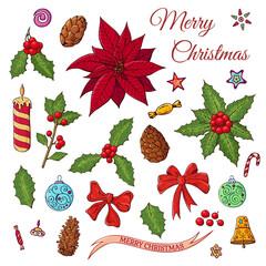 Christmas set with festive elements.