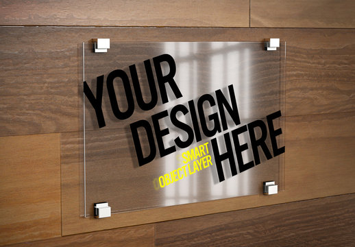 Glass Sign on Wooden Wall Mockup