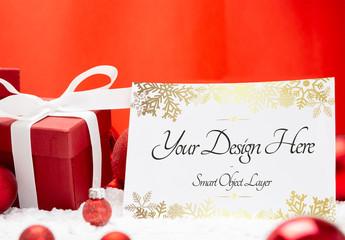 Holiday Card and Decorations Mockup