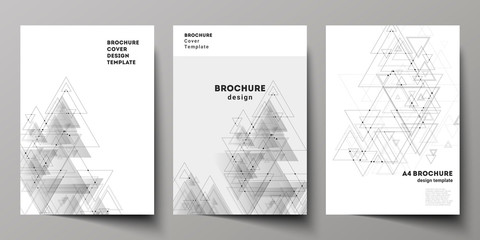The vector editable layout of A4 format cover mockups design templates for brochure, magazine, flyer, booklet. Polygonal background with triangles, connecting dots and lines. Connection structure.