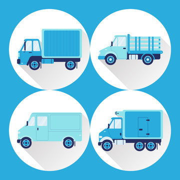 Set of truck icons in flat style with long shadow