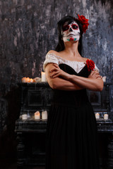 Halloween image of zombie woman with makeup
