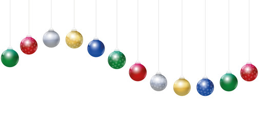 Christmas balls. Golden, silver, red, green and blue glossy Christmas tree balls with snowflake ornaments hanging on strings and forming a wave.