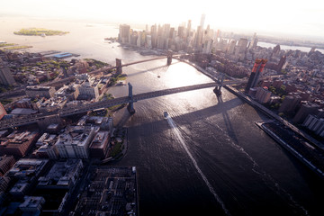 Aerial view of bridges connecting Manhattan and Brooklyn