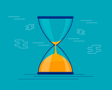 Hourglass antique instrument. Hourglass as time passing concept for business deadline, urgency and running out of time. hourglass illustration on the, sandglass or sandclock, flat design vector