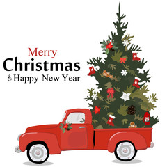 Merry christmas greeting card illustration of vintage red car with xmas pine tree gift on roof. EPS10 vector.