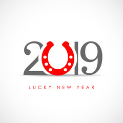 Lucky new year 2019 minimal greeting card