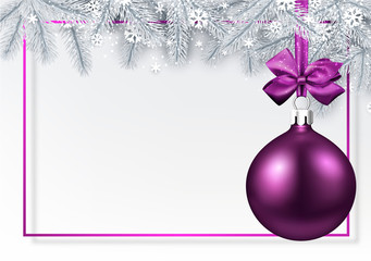 Christmas and New Year card with fir branches and pink Christmas ball.