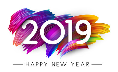 Happy New Year 2019 card with colorful brush stroke design.