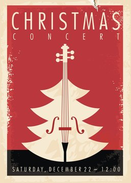 Christmas concert retro poster design for musical event. New year holiday theme.