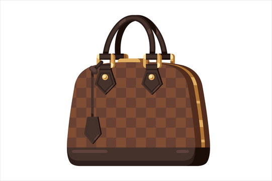 Brown fashion woman bag in flat vector style