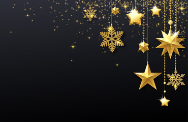 Black shiny festive background with golden stars and snowflakes.