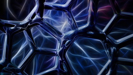 Abstract blue neon energy spider web